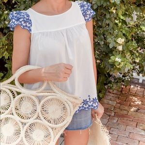 MADEWELL White Blue Embroidered Story Top
